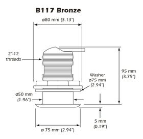 Airmar B117 50/200kHz Mix and Match Cable Bronze Low Profile Depth and Temperature Transducer - B117-DT-MM - Dimensinos