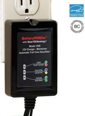 BatteryMINDer Model 1500: 12 Volt 1.5 Amp Maintenance Charger - Desulfator