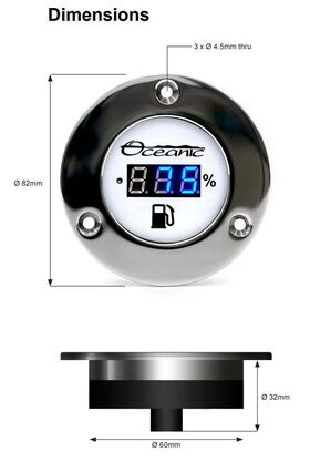 Oceanic Systems Fresh Water Deck Gauge 5250 Dims
