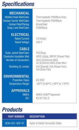 Maretron NMEA 2000 Nylon to Metal Connector Cable QCM-CG1-QCF-01 - Specifications