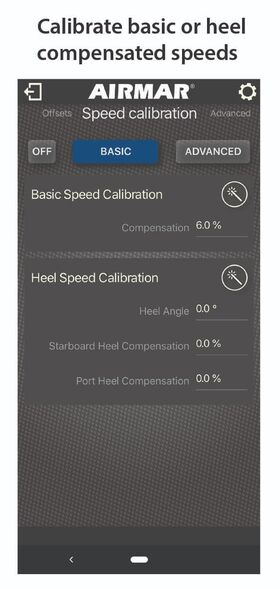 Calibrate basic or heel compensated speeds